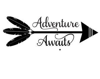adventure awaits svg, adventure svg, arrow SVG, floral svg, arrow words SVG, arrow feathers SVG, arrows svg, feathers svg, tribal name svg