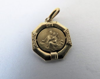 Antique French, Oria, Immaculate Conception , Pendant , Gold Lamine
