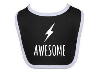 awesome bib - superhero bib - monochrome bib - baby shower gift - baby boy - baby girl
