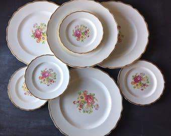 Vintage dinnerware set vintage dishes set vintage plate set vintage china Canonsburgh flowers white rose gold