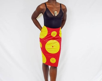 Red and Gold Record Pencil Skirt, Ankara Pencil Skirt, African Wax Short Skirt – Made to Order