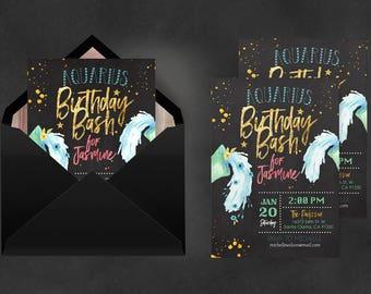 Zodiac Invitation Aquarius | Astrology Invite, Birthday Invitations, Digital Print, Printable Invitations, Invitation, Invitation Printing