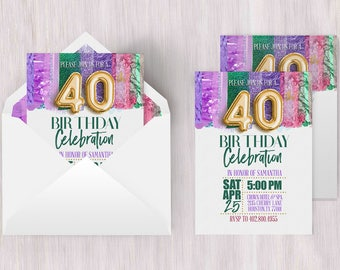 Fortieth Invitation | Fortieth Birthday, 40th Birthday Poster, 40th Birthday Card, 40th Birthday Ideas, 40th Invitation, Metallic Invitation