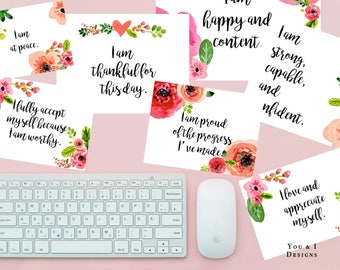 Positive Affirmation Printable Set of 16 Cards - Mindfulness - Instant Digital Download