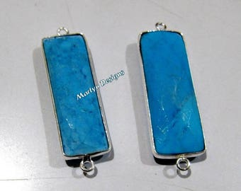 1 pcs.- Best Quality Turquoise Magnesite Connector , Baguette Shape Connector , Silver Plated Double Loop Briolette Bezel 30x12mm approx.
