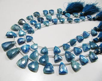 AAA Quality Natural Blue Topaz AB Coated Beads , 16 to 18mm Trillion Shape Beads , Strand 10 inches Long , Side Drilled Gemstone Beads