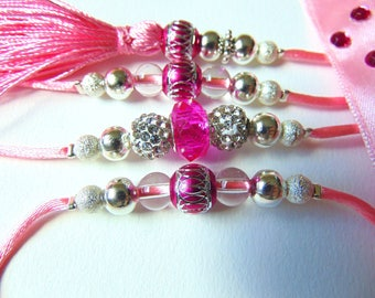 Beaded Dog Show Lead, Dog Leash, pink, white and silver rhinestone, 4 Feet Long, READY to SHIP