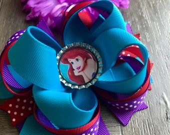 Little mermaid hair bow, little mermaid bow, little mermaid, Ariel, Ariel hair bow, hair bows, bow, hair bow set, hair flower