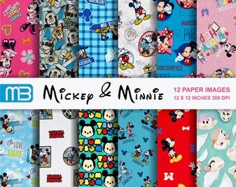 Mickey and Minnie digital paper pack  Instant download -We have a lot of Disney,s digital papers.Please look them.