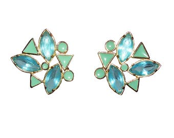 YSL Blue Rhinestone and Blue Enamel Gold Plated Earrings