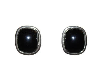 Dior Silver Tone Simulated Hematite Cabochon Earrings