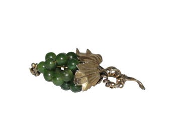 Sterling Silver Nephrite Jade Bead Grape Brooch