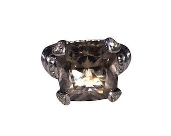 Judith Ripka Sterling Silver Smoky Quartz Diamond Fontaine Ring