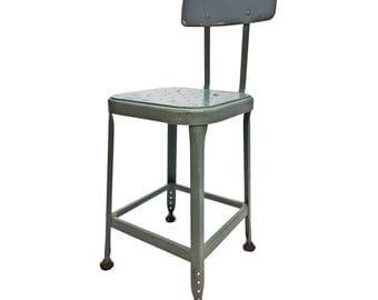 Vintage INDUSTRIAL STOOL steel metal chair seat steampunk factory machine age loft blue gray seating bar retro shop drafting
