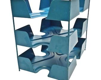 Vintage Industrial Blue File Sorter ~ metal steel office mail in/out desktop organizer tray shelf art loft tiered basket box 3 tier
