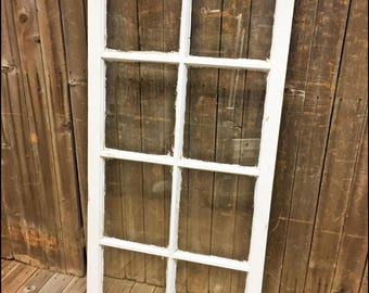 Vintage Wood Window Transom SASH 8 pane GLASS picture frame chic antique architectural salvage wedding 50s photo french provincial country