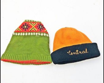 2 Vintage 70s BEANIE HAT LOT snowboard knit ski cap sock script orange black norweigan winter skiing snowboarding downhill hipster skull Pa