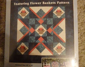 floral quilt pattern, paper piecing pattern, floral decor, quilt pattern, flower basket pattern, table topper pattern, wall hanging pattern