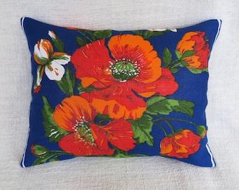 Poppy cushion, Poppy cushion cover, Cushion cover, Floral cushion cover, Vintage linen cushion cover, Red poppy cushion cover, Handmade