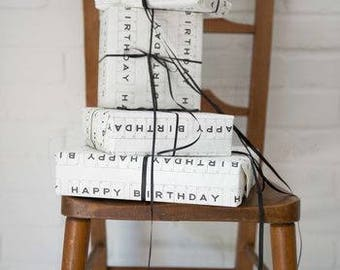 Luxury Happy Birthday Gift Wrap And Tag by VINTAGE PLAYING CARDS