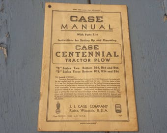 Vintage 1945 Case B Series Manual Book & Parts List 2 And 3 Bottom Centennial Tractor Plow