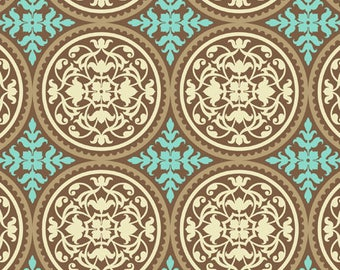 Aviary 2 Scrollwork in caramel by Joel Dewberry -  cotton quilting fabric by the yard