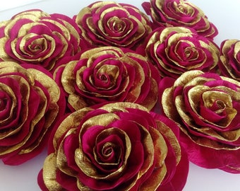 12 giant paper flowers Royal red gold Princess Birthday baby bridal shower Elena Avalor Asian Indian Arabic WEDDING christmas party decor