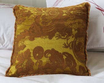 Gold brocade cushion, steampunk style, victorian style