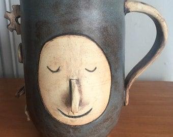 Steampunk robot pottery mug
