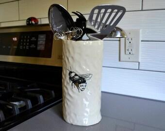 Bumble Bee Vase, Utensil Holder, White Cylinder