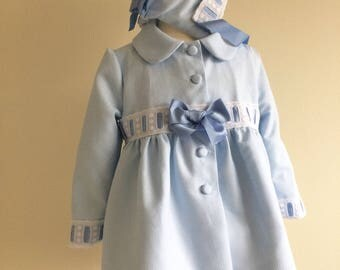 Ready to Post - Baby Girls Coat and Bonnet Spanish Hand made size 18 mths