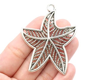 2 Pcs Large Starfish Charms Antique Silver Tone 60x47mm - YD2385