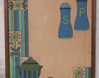 Vintage Burlap 1970s Message Board