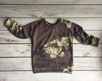Purple Floral sweatshirt // baby floral sweatshirt // toddler floral sweatshirt // floral hooded sweatshirt // floral crew neck sweatshirt
