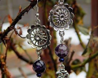 Amethyst Ohm Dangle Earrings, Amethyst Drop Earrings, Gemstone Jewelry, February Birthstone Earrings,  Mandala Drop Earrings, Crystal