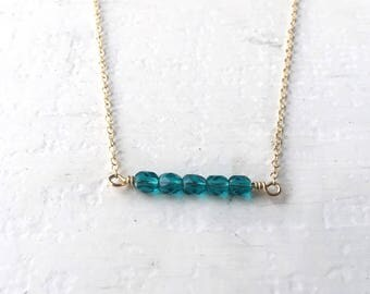 Beaded Bar Necklace/ Bar Necklace/ Minimalistic Necklace/ Gold Fill Necklace