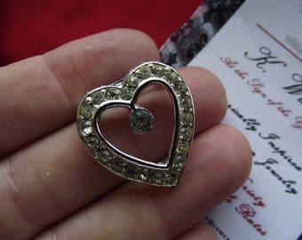 BR-0054 - Vintage Heart Brooches, 18th Century Shirt or Kerchief Buckle, Hair Ornament, 18th Century Shirt Buckle, Reenactor