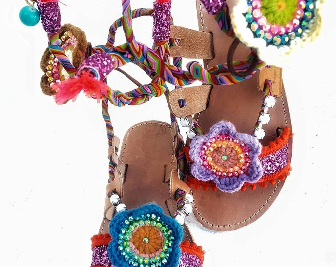 Greek sandals/handmade /gladiator/boho/ethnic/tie up/colorful/crochet/embellished/vintage/lace up/women's sandals/crystals/glitter sandals