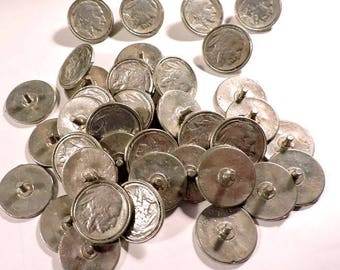Indian Head Nickel Rivet Buttons 40 Pcs Metal