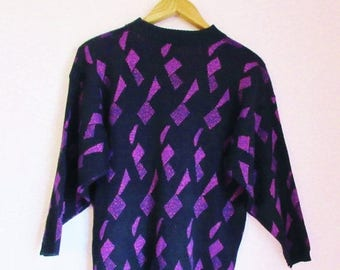 SALE 15% OFF Vintage 80s Sparkle Glittery Abstract Patterned Sweater - Size M