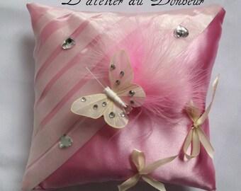 Pink Duchess satin ring pillow
