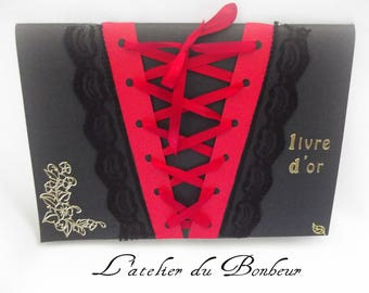 soft red and black Gothic theme guest book