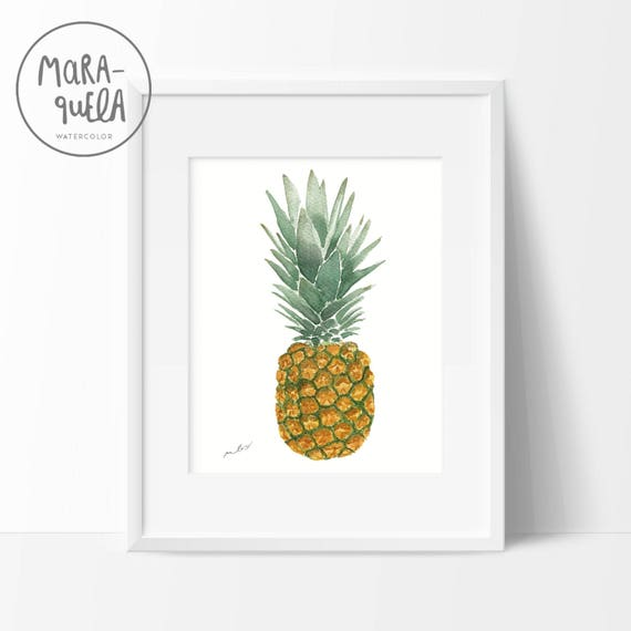 Original Watercolor Pineapple. Brown, ochre yellow and green hues.