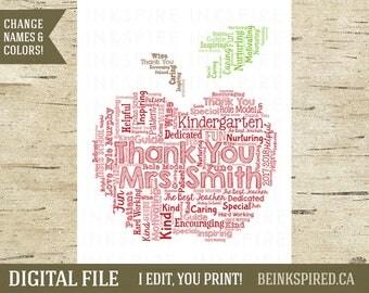 Teacher Thank You Gift, Gift for Teacher, Teacher Appreciation Gift, Christmas Teacher Gift, Apple, Personalized Teacher Gift, DIGITAL FILE