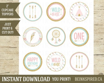 Printable Wild One Tribal Boho Birthday Cupcake Toppers, Pink Gold Mint, Tribal Party, Tribal Birthday, Wild One Party, OLIVIA, DIGITAL FILE
