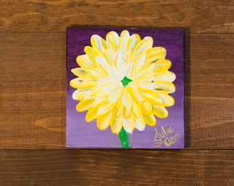 Yellow Flower Original Acrylic Painting on 4x4 inch Canvas, Wall Art, Small Painting