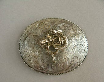 Vintage sterling silver belt buckle, Buckle with dragon, Hand engraved