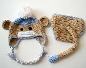Crochet Baby Monkey Hat & Diaper Cover with Tail Set/Newborn Photo Prop/Baby Monkey Costume/Newborn Halloween Costume