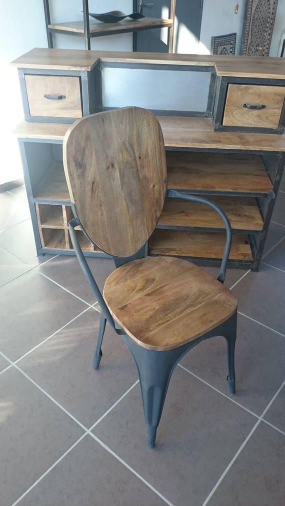 chaise industrielle vintage m tal et bois. Black Bedroom Furniture Sets. Home Design Ideas