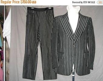 On Sale Unique 1960's Men's Black & White Striped 3 Piece Suit